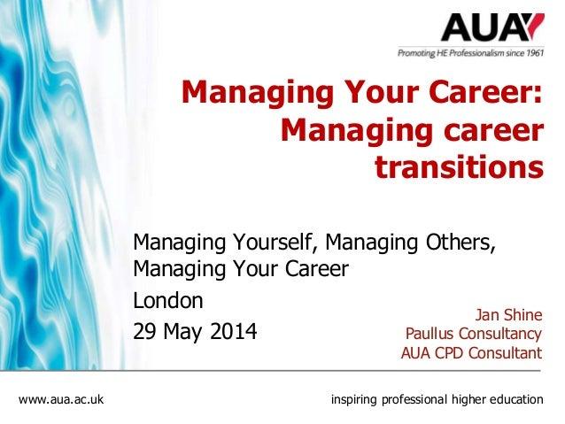 www.aua.ac.uk inspiring professional higher education Managing Your Career: Managing career transitions Managing Yourself,...