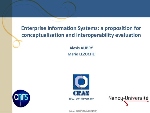 Alexis AUBRY, Mario LEZOCHE. Enterprise Information Systems: a proposition for conceptualisation and interoperability evaluation