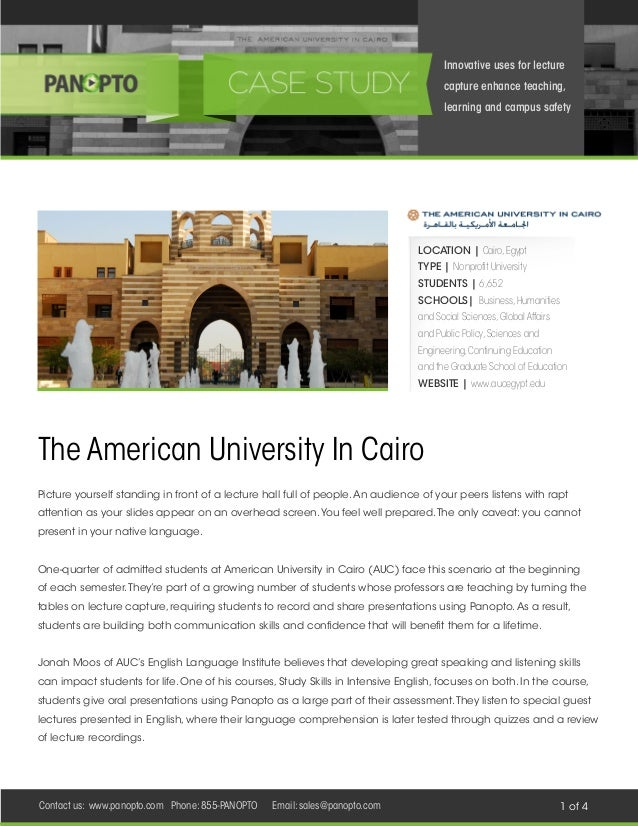 Innovative uses for lecture capture enhance teaching, learning and campus safety  LOCATION | Cairo, Egypt TYPE | Nonprofit...