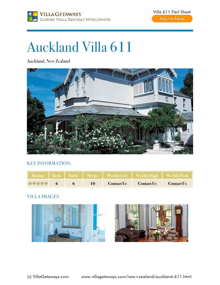 Villa 611 Fact SheetAuckland Villa 611Auckland, New ZealandKEY INFORMATION:  Rating    Beds        Baths     Sleeps   Week...