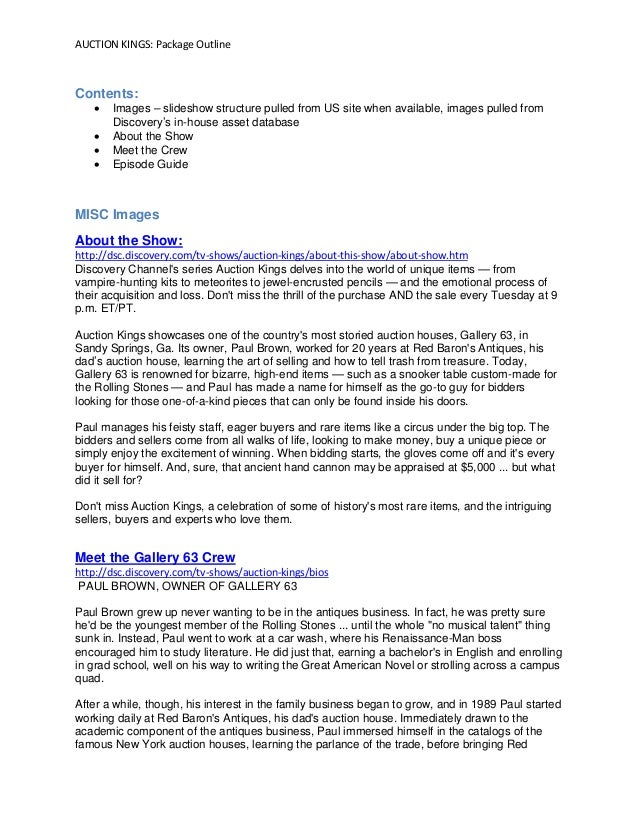 AUCTION KINGS: Package Outline Contents:  Images – slideshow structure pulled from US site when available, images pulled ...