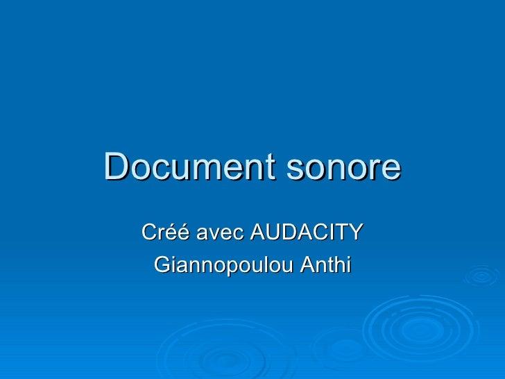 Document sonore Cr éé  avec AUDACITY Giannopoulou Anthi