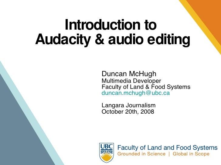 Langara Audacity workshop