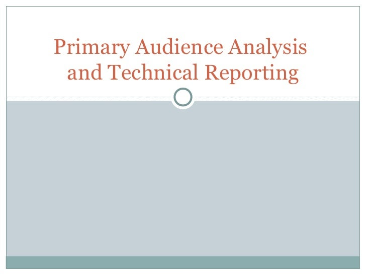 Primary Audience Analysis  and Technical Reporting