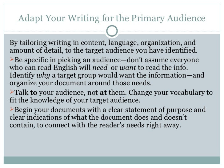 How important is writing to a target audience?
