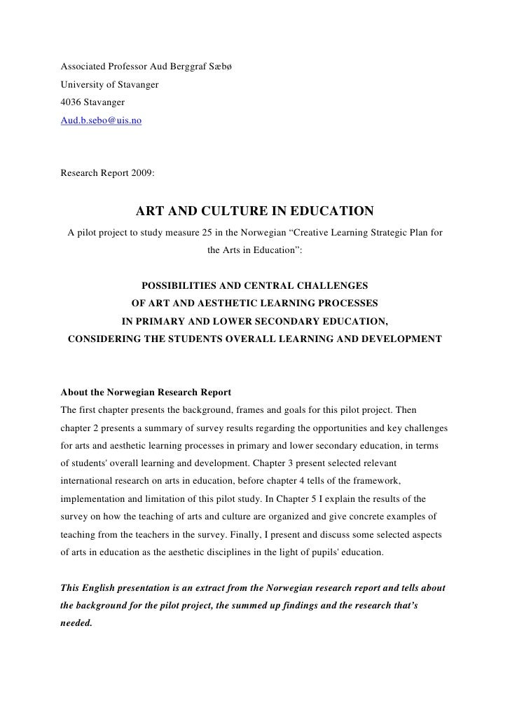 Aud Berggraf SæBø Art And Culture In Education Research Project