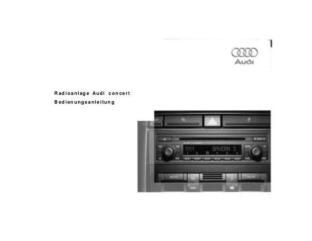 Radioanlage Audi concert Bedienungsanleitung