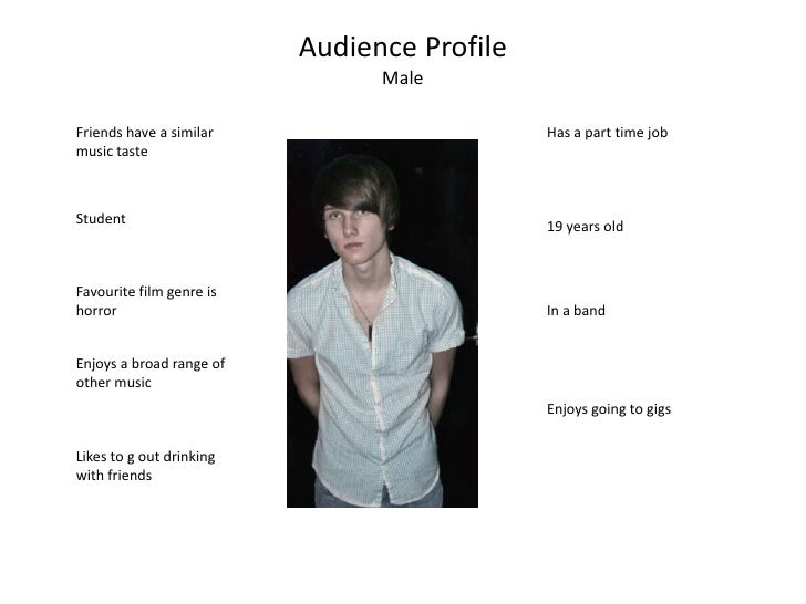 Audience Profile<br />Male<br />Friends have a similar music taste<br />Has a part time job<br />Student<br />19 years old...