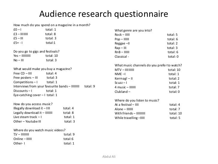 Audience research questionnaire<br />How much do you spend on a magazine in a month?<br />£0 – I                          ...