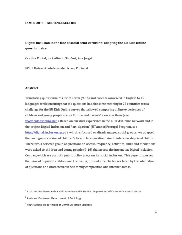 IAMCR 2011 – AUDIENCE SECTIONDigital inclusion in the face of social semi-exclusion: adapting the EU Kids Onlinequestionna...