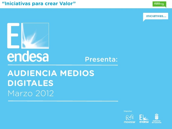 """""""Iniciativas para crear Valor""""                                 Presenta:  AUDIENCIA MEDIOS  DIGITALES  Marzo 2012         ..."""