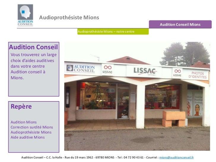 Audioprothésiste Mions <br />Audition Conseil Mions<br />Audioprothésiste Mions – notre centre<br />Audition Conseil<br />...