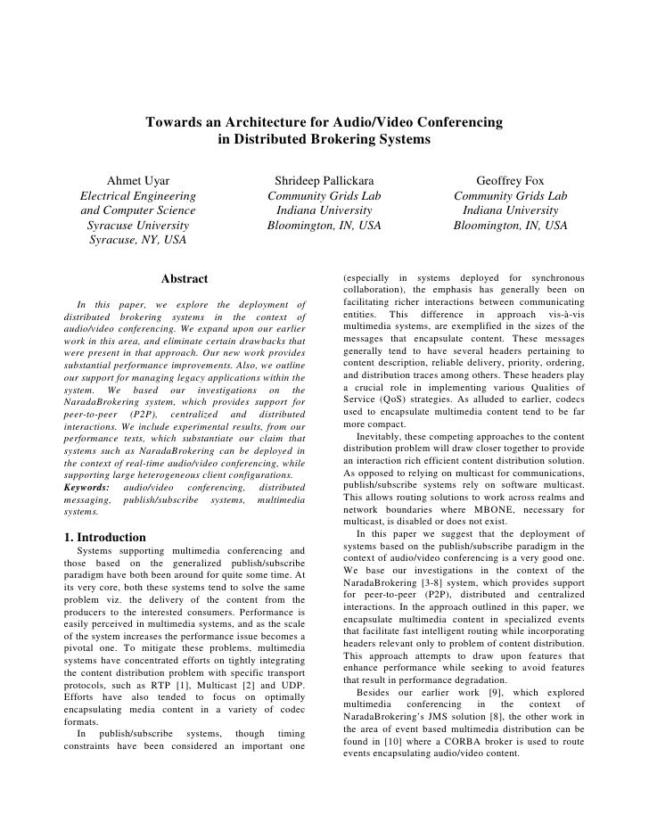 Towards an Architecture for Audio/Video Conferencing                             in Distributed Brokering Systems         ...