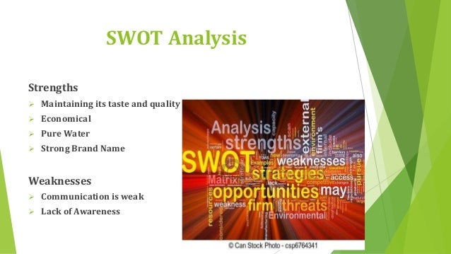 swot analysis of nestle water Here is the swot analysis of nestle  name which ranges from beverages like  coffee & mineral water, breakfast cereals, soups & sauces etc.