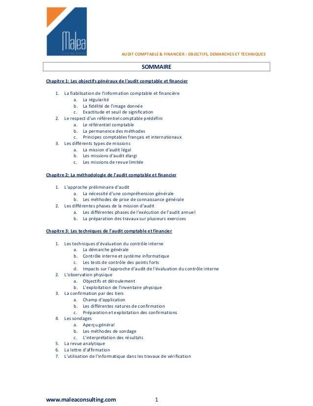 AUDIT COMPTABLE & FINANCIER : OBJECTIFS, DEMARCHES ET TECHNIQUES                                              SOMMAIREChap...