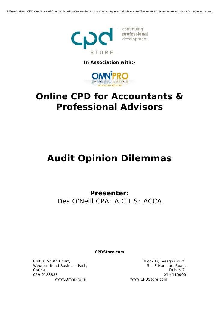 Audit Opinion Dilemmas