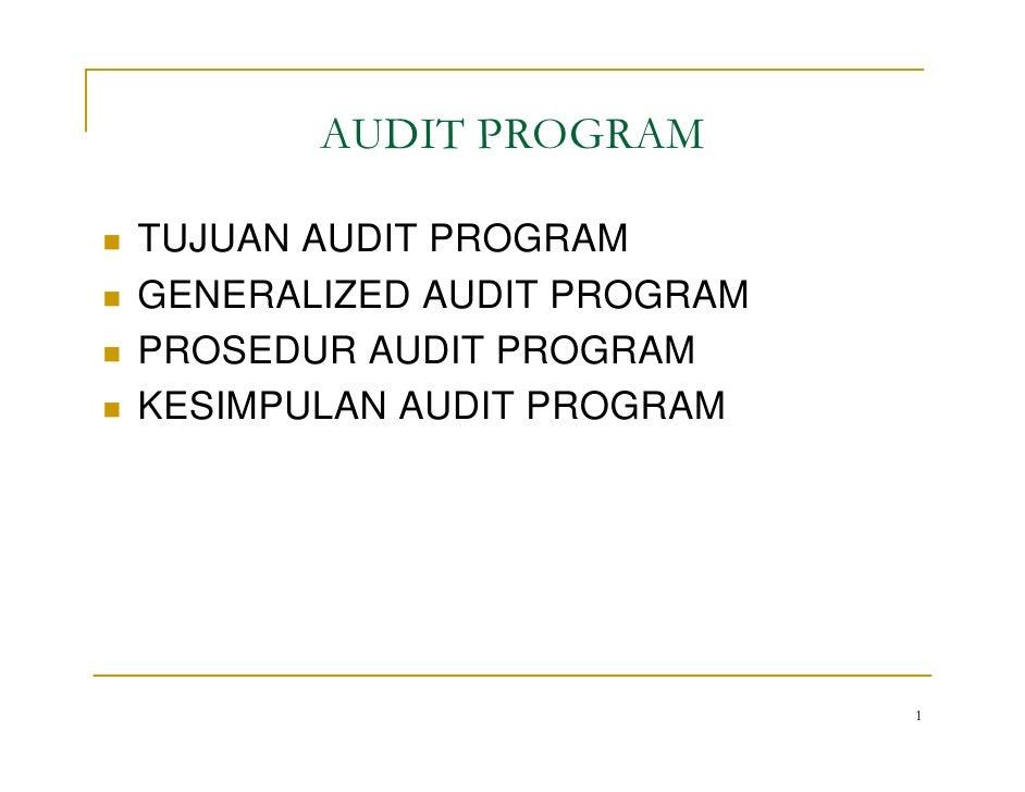 AUDIT PROGRAM  TUJUAN AUDIT PROGRAM GENERALIZED AUDIT PROGRAM PROSEDUR AUDIT PROGRAM KESIMPULAN AUDIT PROGRAM             ...