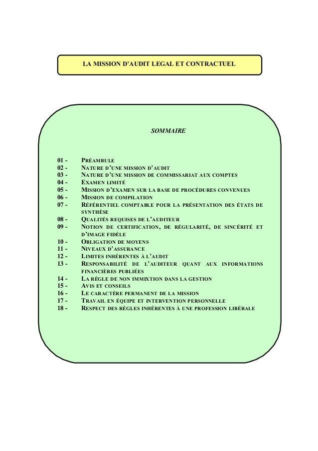LA MISSION D'AUDIT LEGAL ET CONTRACTUEL SOMMAIRE 01 - PRÉAMBULE 02 - NATURE D'UNE MISSION D'AUDIT 03 - NATURE D'UNE MISSIO...