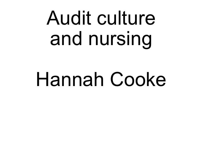 Audit culture and nursing