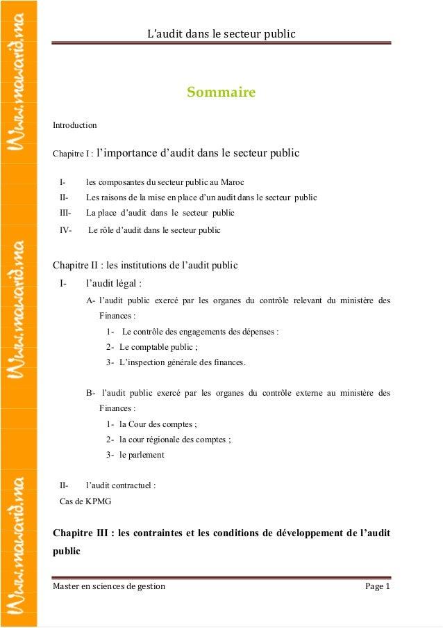 L'audit dans le secteur public Master en sciences de gestion Page 1 Sommaire Introduction Chapitre I : l'importance d'audi...