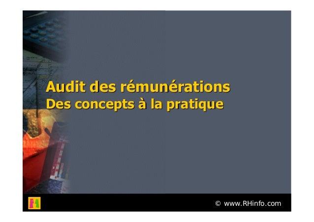 © www.RHinfo.comAudit des rémunérationsAudit des rémunérationsDes concepts à la pratiqueDes concepts à la pratique