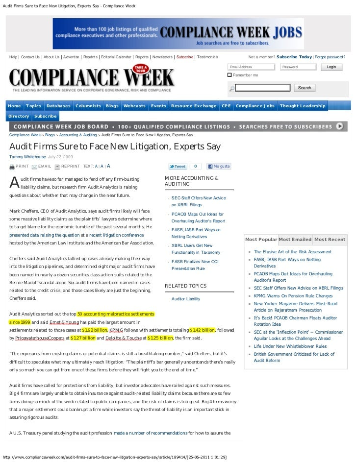 Audit Firms Sure to Face New Litigation, Experts Say - Compliance Week   Help   Contact Us   About Us   Advertise   Reprin...