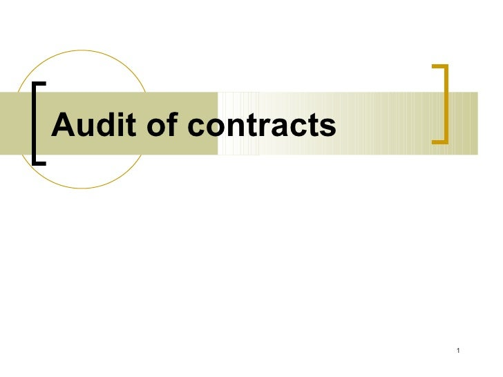 Audit of contracts