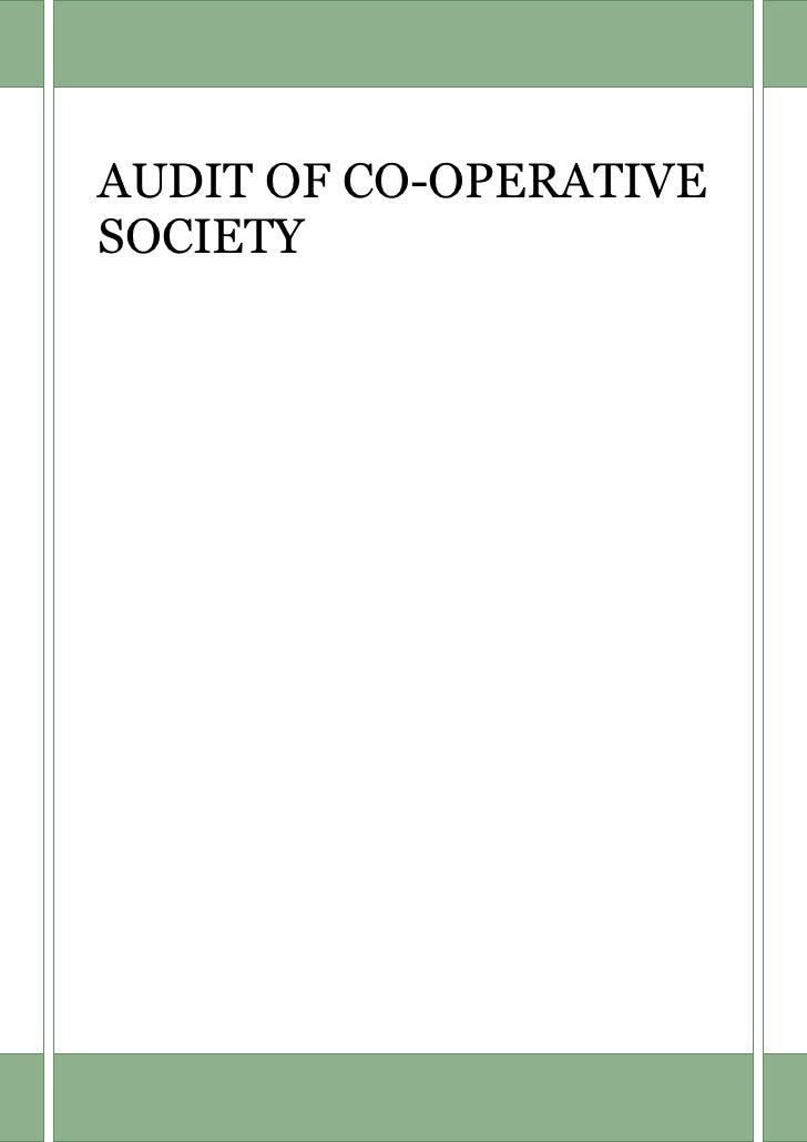 AUDIT OF CO-OPERATIVESOCIETY