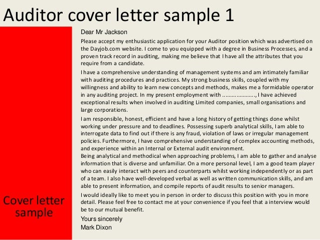 cover letter auditor Example of cover letter for auditor who verifies data, manages risks, analysis profit/loss, processes transactions, and so on.