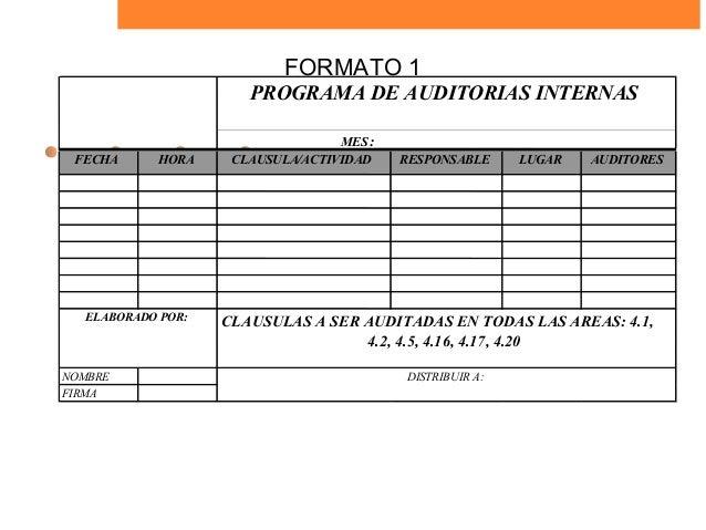 Plan de Auditoria Interna Auditorias Internas Mes