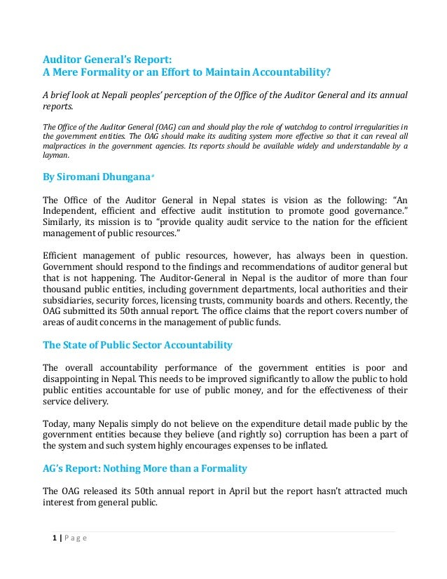 1 | P a g eAuditor General's Report:A Mere Formality or an Effort to Maintain Accountability?A brief look at Nepali people...