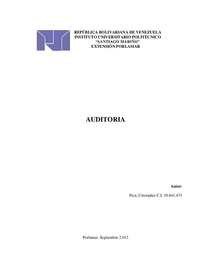 """REPÚBLICA BOLIVARIANA DE VENEZUELAINSTITUTO UNIVERSITARIO POLITÉCNICO         """"SANTIAGO MARIÑO""""       EXTENSIÓN PORLAMAR  ..."""