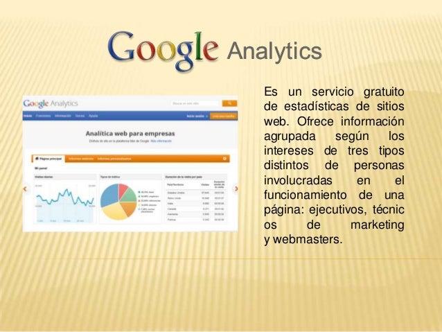 Es un servicio gratuitode estadísticas de sitiosweb. Ofrece informaciónagrupada     según     losintereses de tres tiposdi...