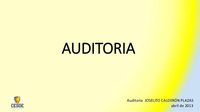 AUDITORIAAuditoria JOSELITO CALDERÓN PLAZASabril de 2013