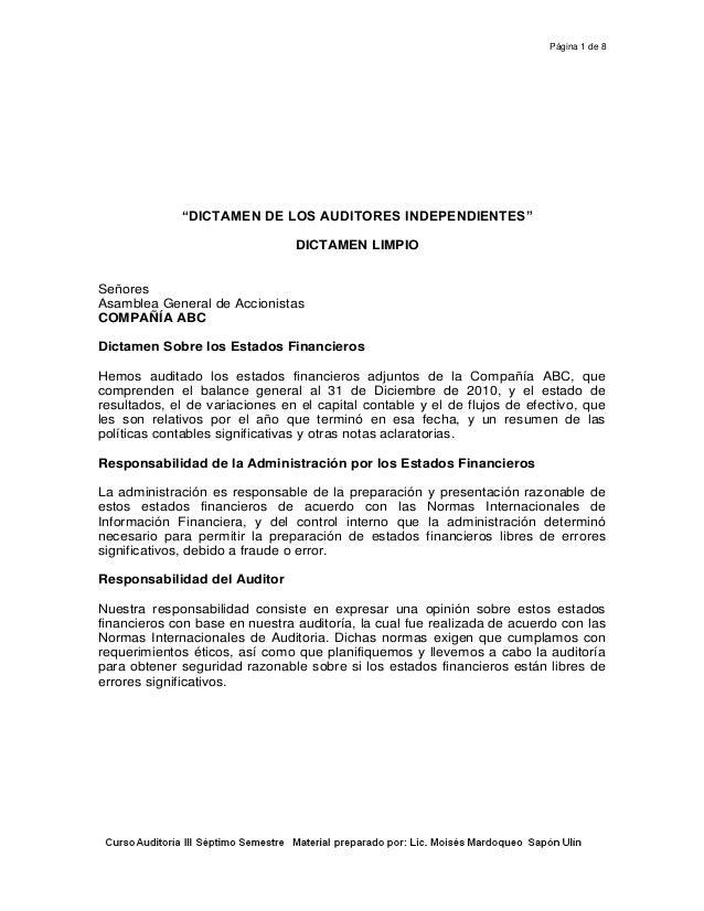 """Página 1 de 8 """"DICTAMEN DE LOS AUDITORES INDEPENDIENTES"""" DICTAMEN LIMPIO Señores Asamblea General de Accionistas COMPAÑÍA ..."""