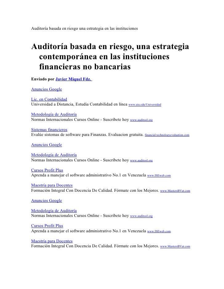 Auditoría basada en riesgo una estrategia en las institucionesAuditoría basada en riesgo, una estrategia contemporánea en ...
