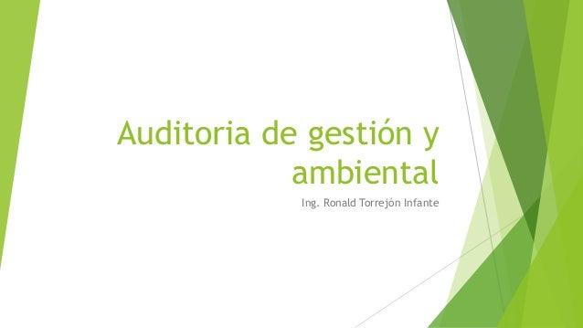 Auditoria de gestión y ambiental Ing. Ronald Torrejón Infante