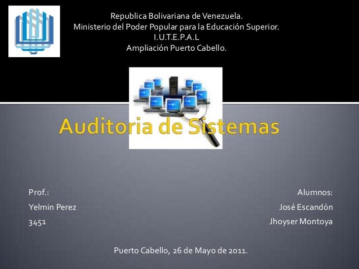 Republica Bolivariana de Venezuela.<br />Ministerio del Poder Popular para la Educación Superior.<br />I.U.T.E.P.A.L<br />...