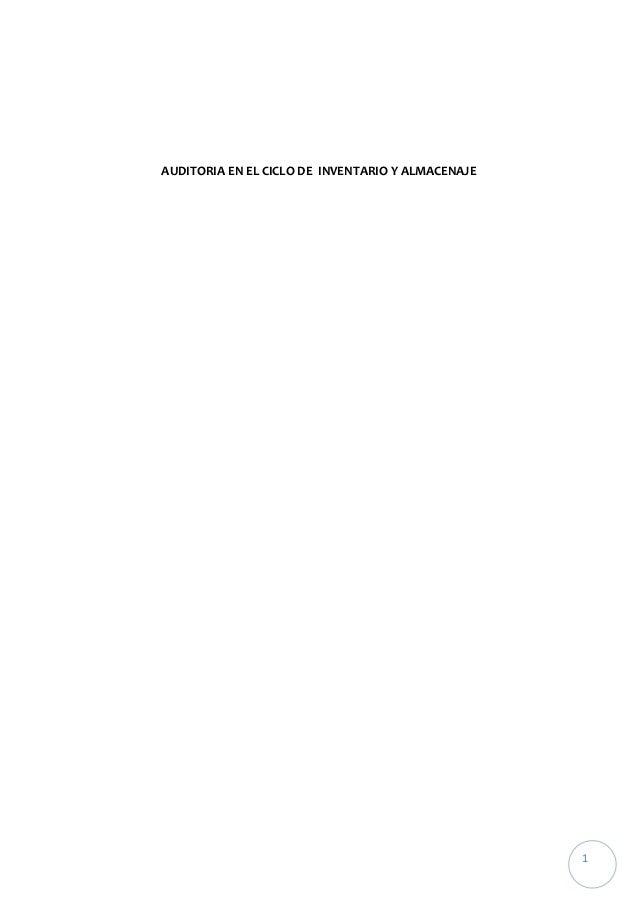 Auditoria en el ciclo de  inventario y almacenaje