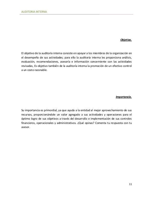 Auditoria Interna Auditoria Interna 11 Objetivo