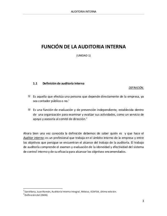 Auditoria Interna Funciones Auditoria Interna 3 Función de