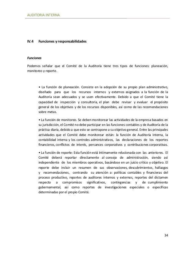 Auditoria Interna Funciones Auditoria Interna 34 Iv.4