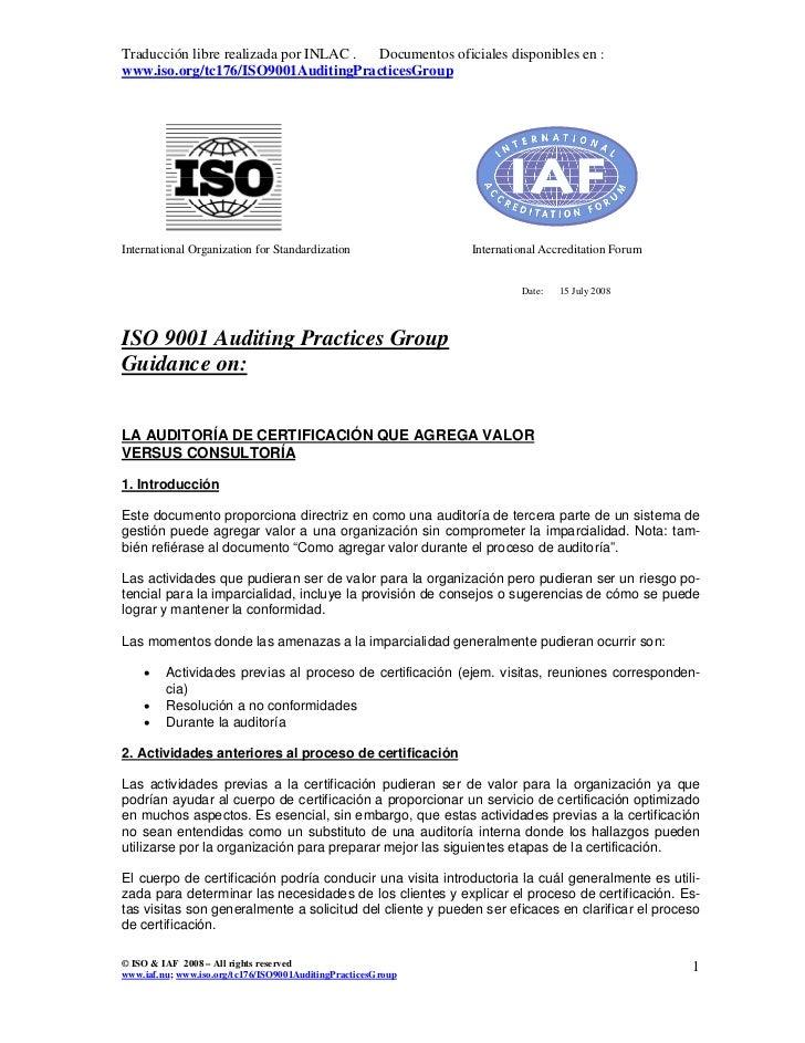 Traducción libre realizada por INLAC . Documentos oficiales disponibles en :www.iso.org/tc176/ISO9001AuditingPracticesGrou...
