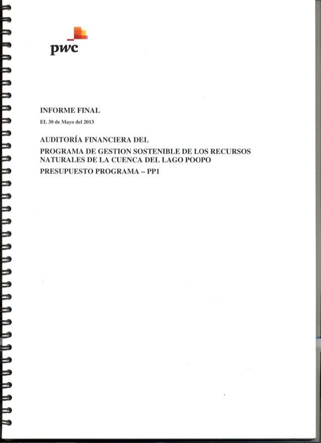 AUDITORIA FINANCIERA DEL PROGRAMA CUENCA POOPO - PRESUPUESTO PROGRAMA PP1