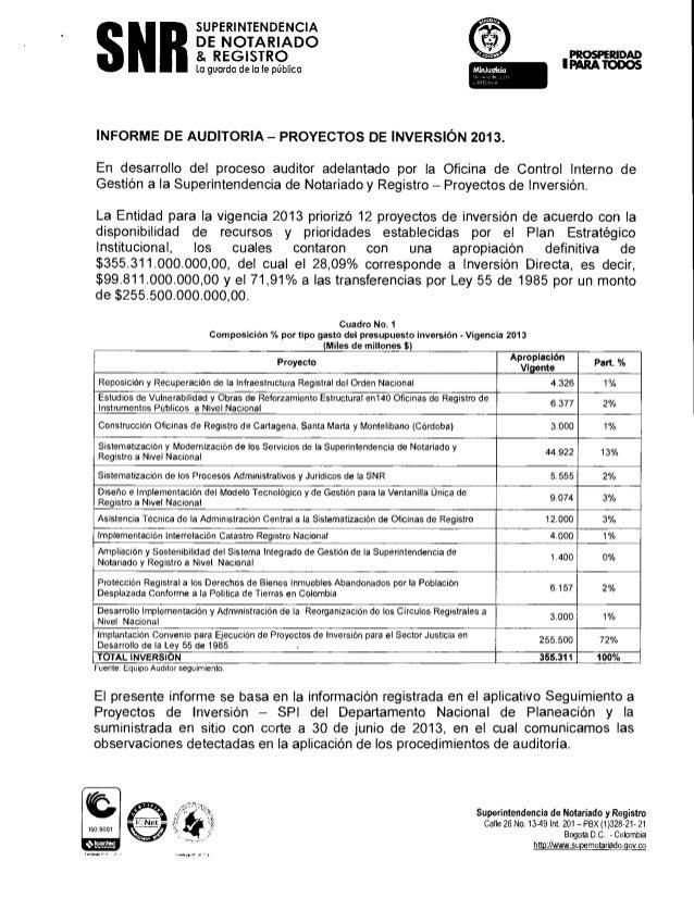 SNR  SUPERINTENDENCIA DE NOTARIADO & REGISTRO  PRRAD ID I PARA TODOS  la guarda de la fe pública  INFORME DE AUDITORIA — P...