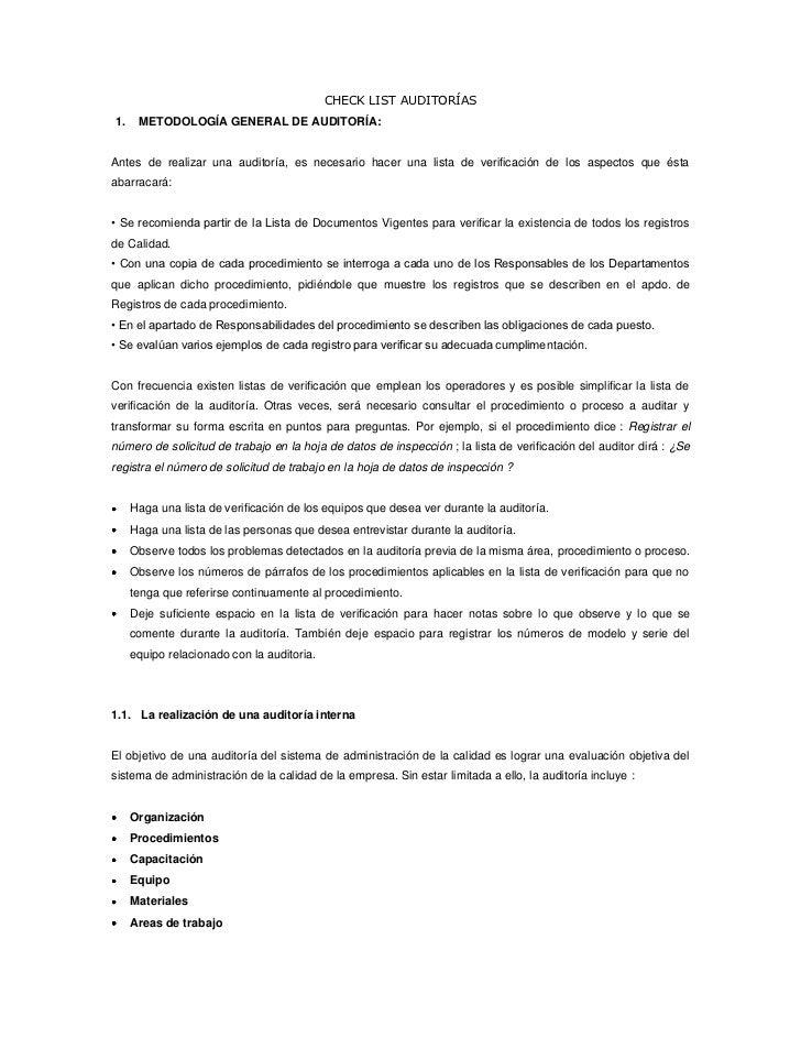 CHECK LIST AUDITORÍAS1.    METODOLOGÍA GENERAL DE AUDITORÍA:Antes de realizar una auditoría, es necesario hacer una lista ...