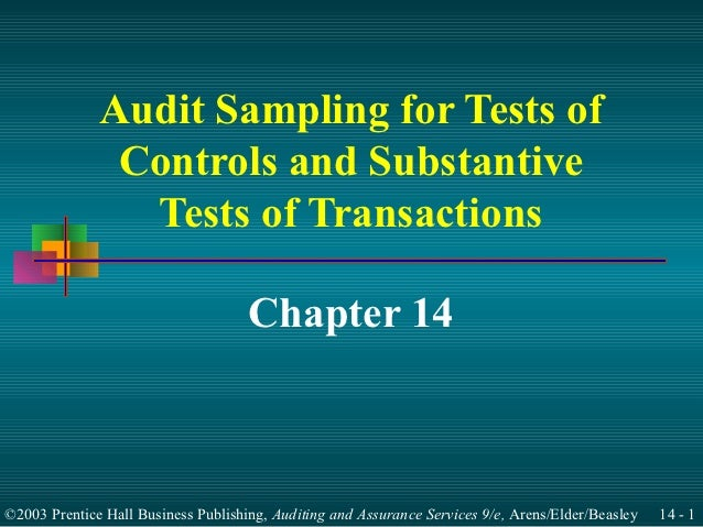 Audit Sampling for Tests of               Controls and Substantive                Tests of Transactions                   ...
