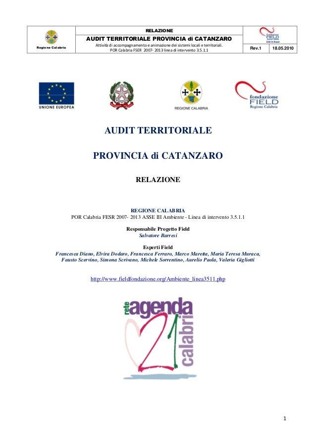 RELAZIONE                         AUDIT TERRITORIALE PROVINCIA di CATANZARORegione Calabria                             At...