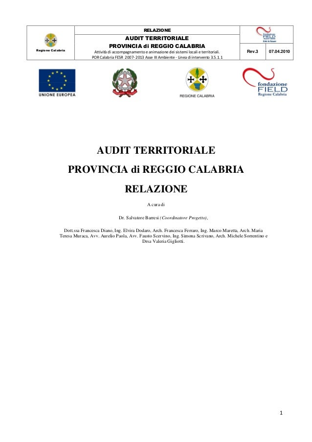 RELAZIONE                                         AUDIT TERRITORIALE                                     PROVINCIA di REGG...