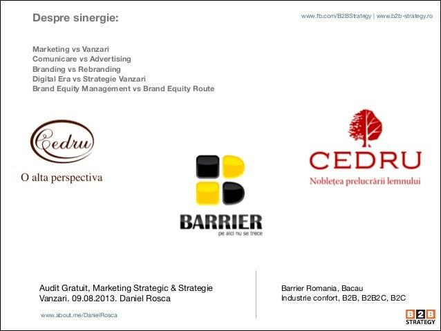 Audit Gratuit, Marketing Strategic & Strategie Vanzari. 09.08.2013. Daniel Rosca Barrier Romania, Bacau  Industrie confort...